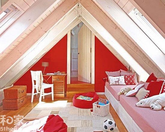 设计亮点:利用阁楼房顶的三角形形状很好的设计了一个个性的休息角落.图片