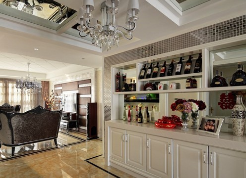2013家装酒柜效果图:这套室内装修的客厅中选择了家庭装饰