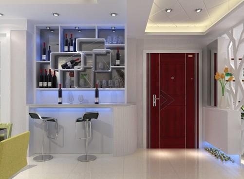 2013家装酒柜效果图:这套室内装修的客厅中选择了家庭装饰酒柜作为