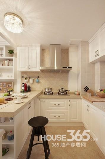 开放式厨房客厅装修 90平美式两居