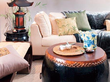 中式客厅装修效果图大全2014图片:中式鼓也可以做茶几