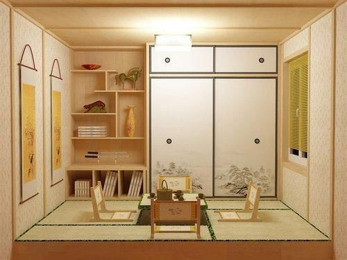 榻榻米床装修效果图16:形成井字形,田字形或对称形格局.