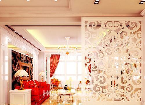 客厅隔断墙效果图:简欧气质的小家,白色镂空隔断
