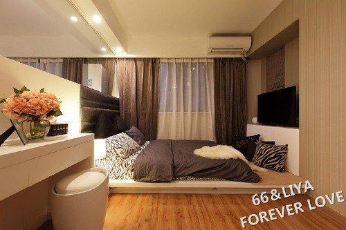 75平米小户型两居婚房 透明卧室 开放式厨房设计