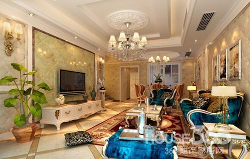 简欧电视墙造型:新古典客厅的设计,电视背景墙也是一大亮点,这个图片