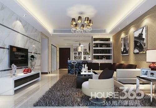 简欧电视墙造型:简欧风格的电视背景墙设计,白色为底,黑色暗纹
