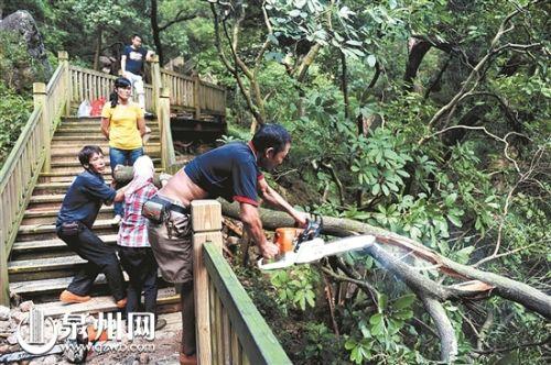 泉州清源山景区部分步游道仍在维修 望登山游客尽量回避
