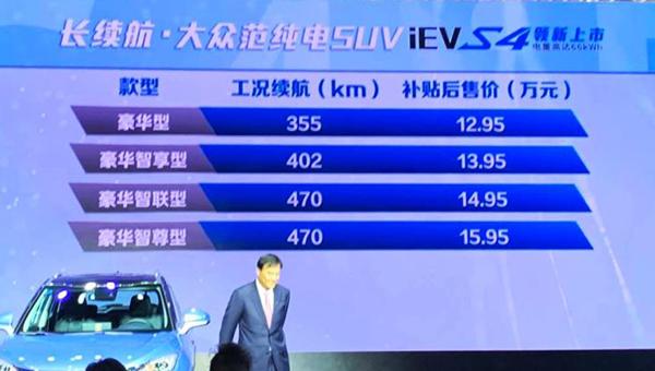 江淮iEVS4售價12.95萬起